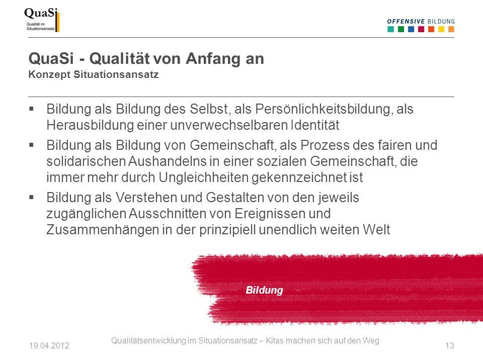 QuaSi - Qualität von Anfang an Konzept Situationsansatz Bildung Bildung als Bildung des Selbst, als Persönlichkeitsbildung, als Herausbildung einer un