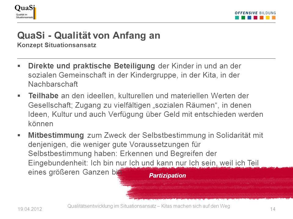 QuaSi - Qualität von Anfang an Konzept Situationsansatz Partizipation Direkte und praktische Beteiligung der Kinder in und an der sozialen Gemeinschaf
