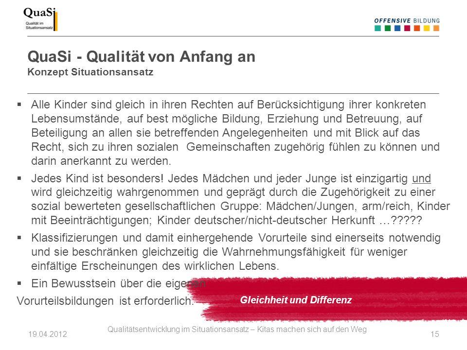 QuaSi - Qualität von Anfang an Konzept Situationsansatz Gleichheit und Differenz Alle Kinder sind gleich in ihren Rechten auf Berücksichtigung ihrer k