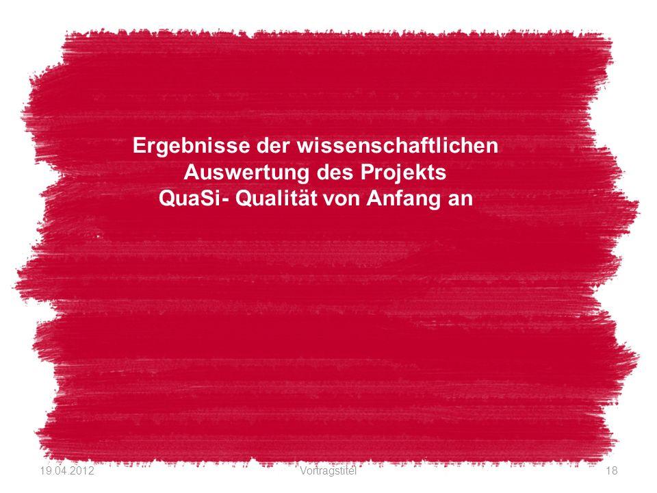 Ergebnisse der wissenschaftlichen Auswertung des Projekts QuaSi- Qualität von Anfang an 19.04.2012Vortragstitel18