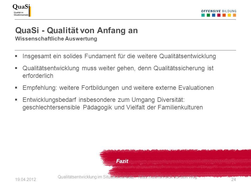 QuaSi - Qualität von Anfang an Wissenschaftliche Auswertung Fazit Insgesamt ein solides Fundament für die weitere Qualitätsentwicklung Qualitätsentwic