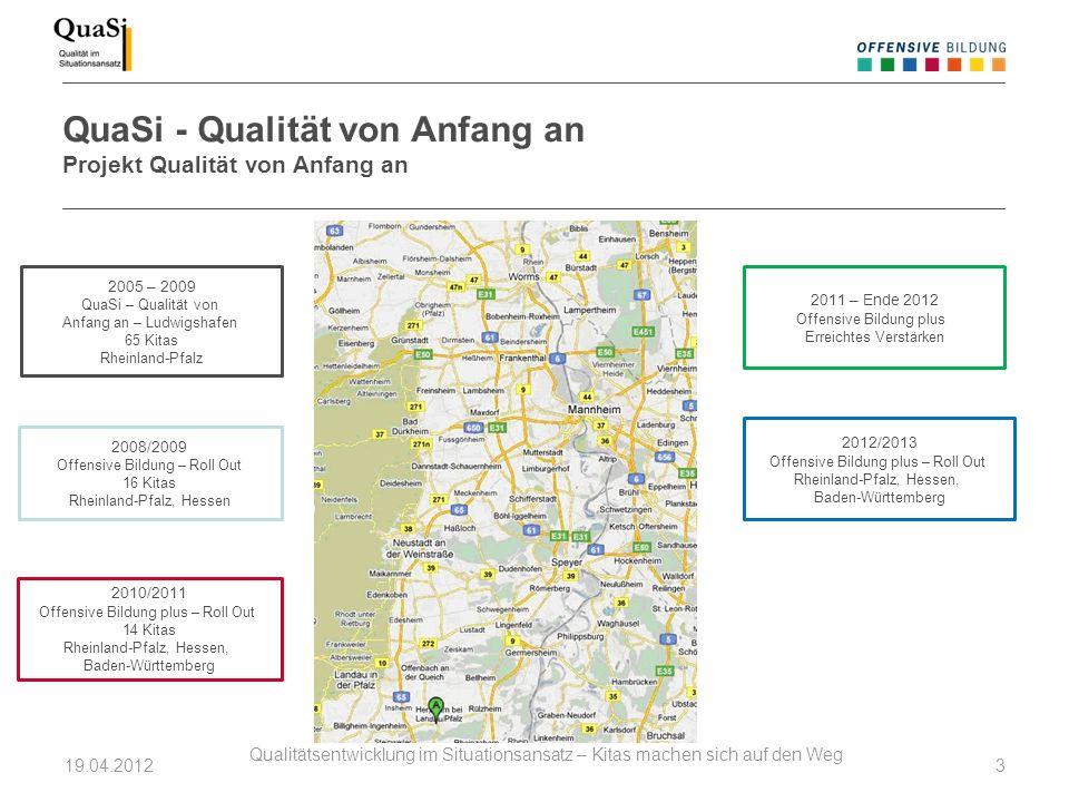 QuaSi - Qualität von Anfang an Projekt Qualität von Anfang an 19.04.2012 Qualitätsentwicklung im Situationsansatz – Kitas machen sich auf den Weg 3 20