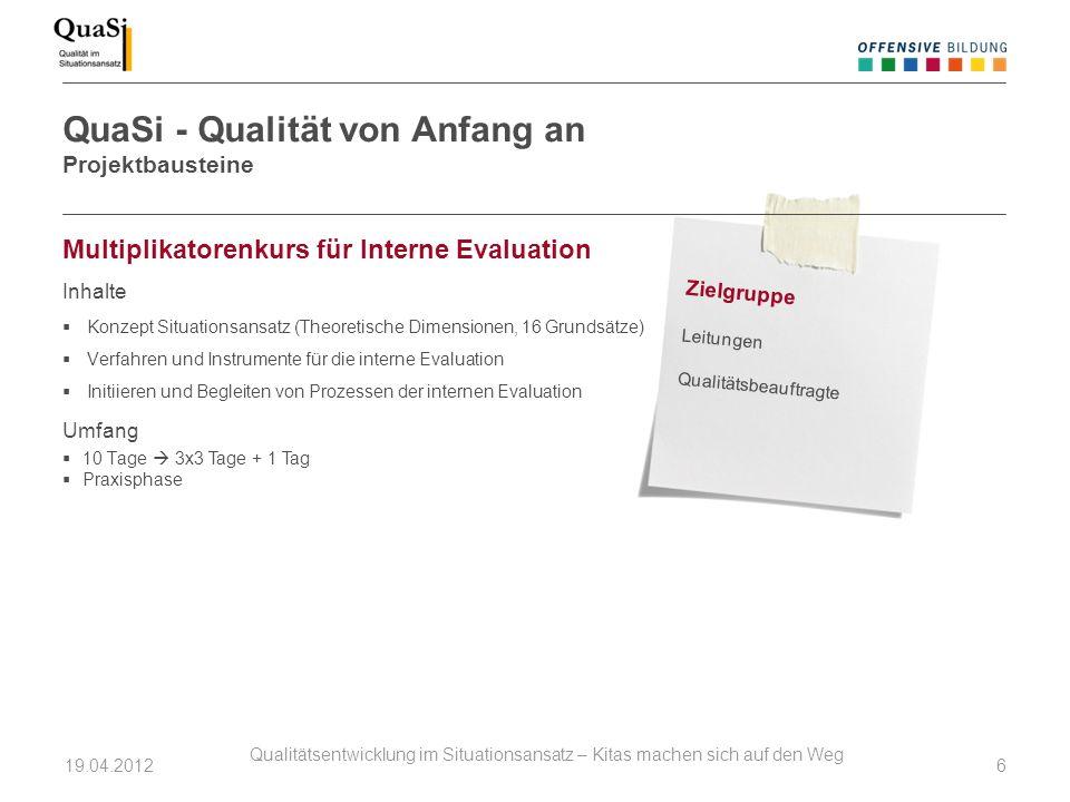 Multiplikatorenkurs für Interne Evaluation Inhalte Konzept Situationsansatz (Theoretische Dimensionen, 16 Grundsätze) Verfahren und Instrumente für di