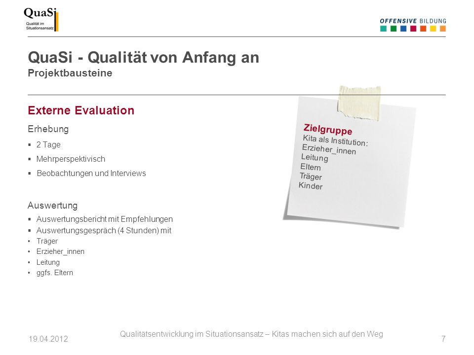 Externe Evaluation Erhebung 2 Tage Mehrperspektivisch Beobachtungen und Interviews Auswertung Auswertungsbericht mit Empfehlungen Auswertungsgespräch