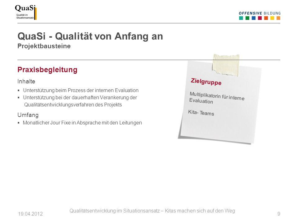 Praxisbegleitung Inhalte Unterstützung beim Prozess der internen Evaluation Unterstützung bei der dauerhaften Verankerung der Qualitätsentwicklungsver