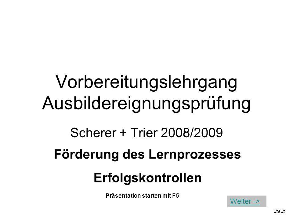 Vorbereitungslehrgang Ausbildereignungsprüfung Scherer + Trier 2008/2009 Förderung des Lernprozesses Erfolgskontrollen B&B Präsentation starten mit F5 Weiter ->