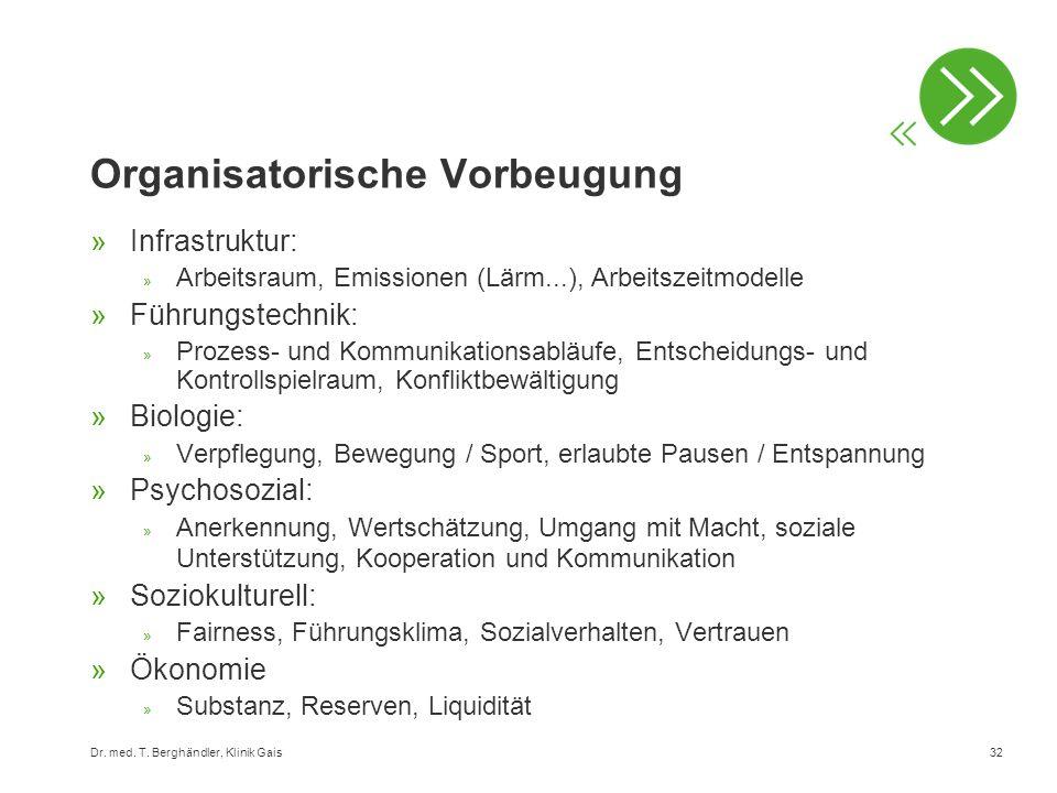 Dr. med. T. Berghändler, Klinik Gais32 Organisatorische Vorbeugung »Infrastruktur: » Arbeitsraum, Emissionen (Lärm...), Arbeitszeitmodelle »Führungste