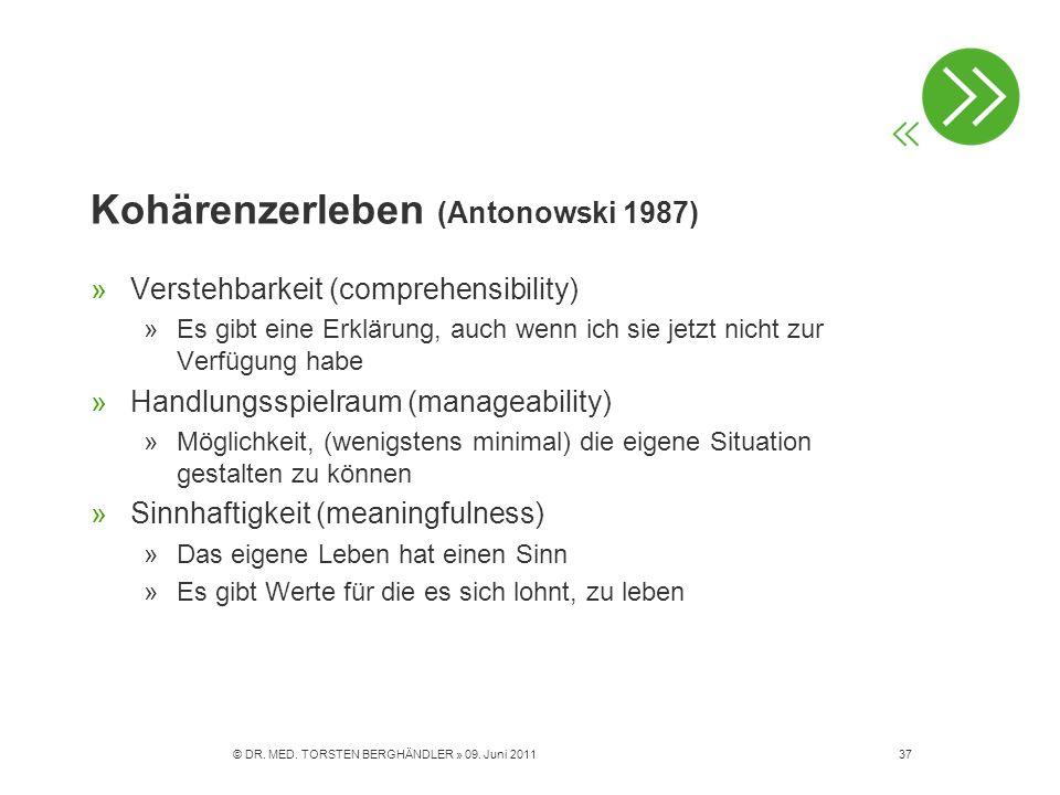 Kohärenzerleben (Antonowski 1987) »Verstehbarkeit (comprehensibility) »Es gibt eine Erklärung, auch wenn ich sie jetzt nicht zur Verfügung habe »Handl