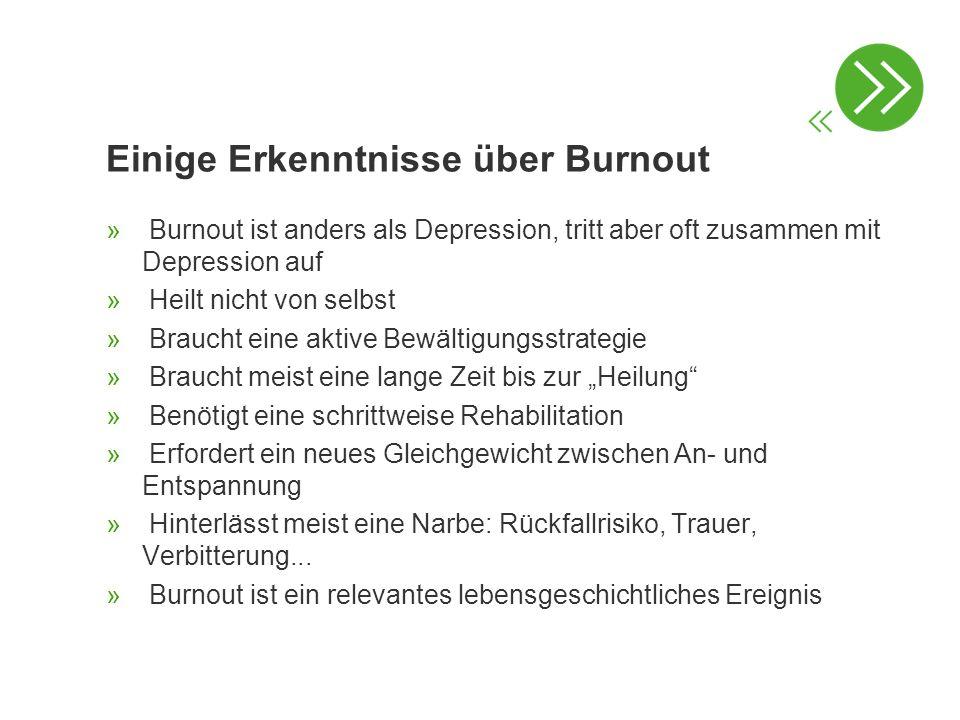 Einige Erkenntnisse über Burnout » Burnout ist anders als Depression, tritt aber oft zusammen mit Depression auf » Heilt nicht von selbst » Braucht ei