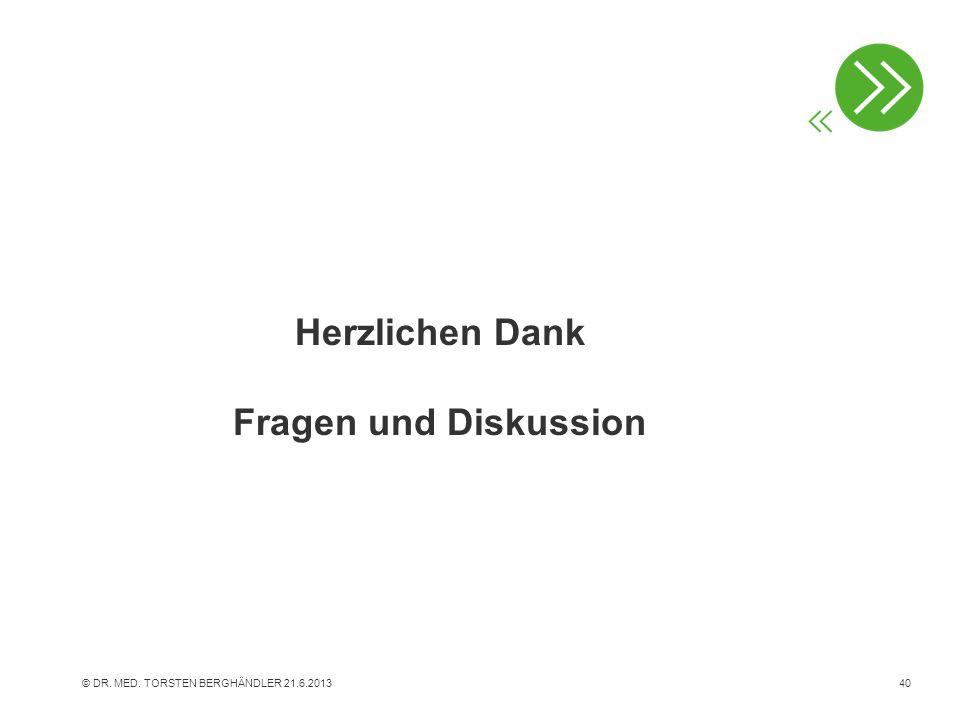 Herzlichen Dank Fragen und Diskussion © DR. MED. TORSTEN BERGHÄNDLER 21.6.201340