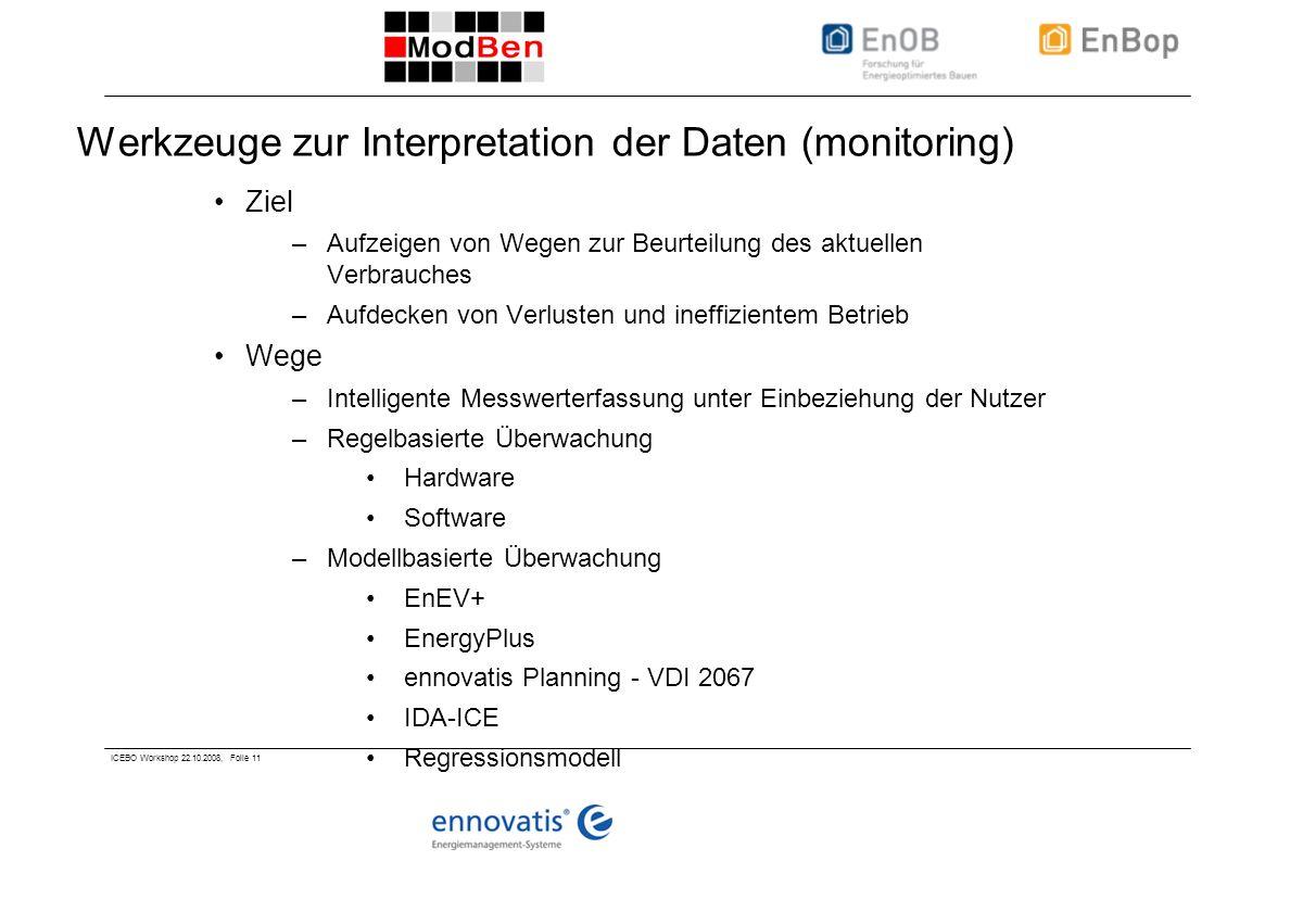ICEBO Workshop 22.10.2008, Folie 11 Werkzeuge zur Interpretation der Daten (monitoring) Ziel –Aufzeigen von Wegen zur Beurteilung des aktuellen Verbrauches –Aufdecken von Verlusten und ineffizientem Betrieb Wege –Intelligente Messwerterfassung unter Einbeziehung der Nutzer –Regelbasierte Überwachung Hardware Software –Modellbasierte Überwachung EnEV+ EnergyPlus ennovatis Planning - VDI 2067 IDA-ICE Regressionsmodell