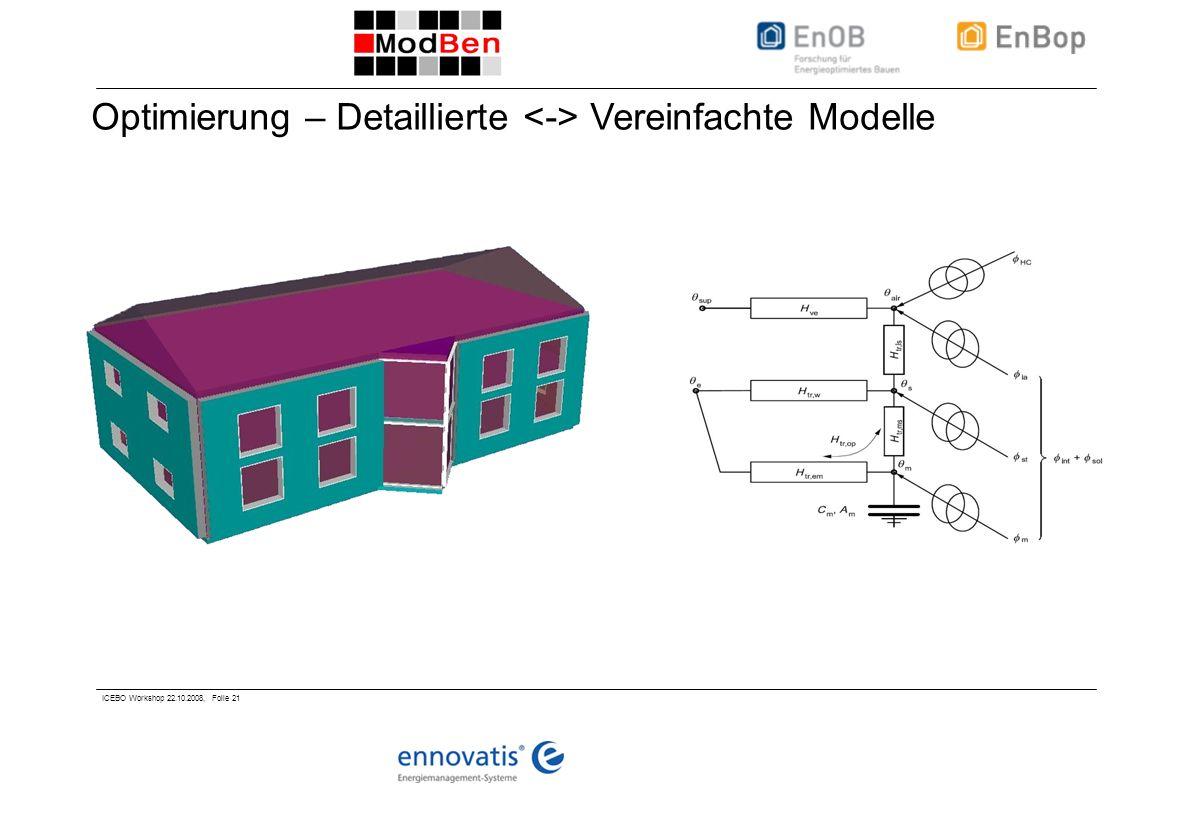 ICEBO Workshop 22.10.2008, Folie 21 Optimierung – Detaillierte Vereinfachte Modelle