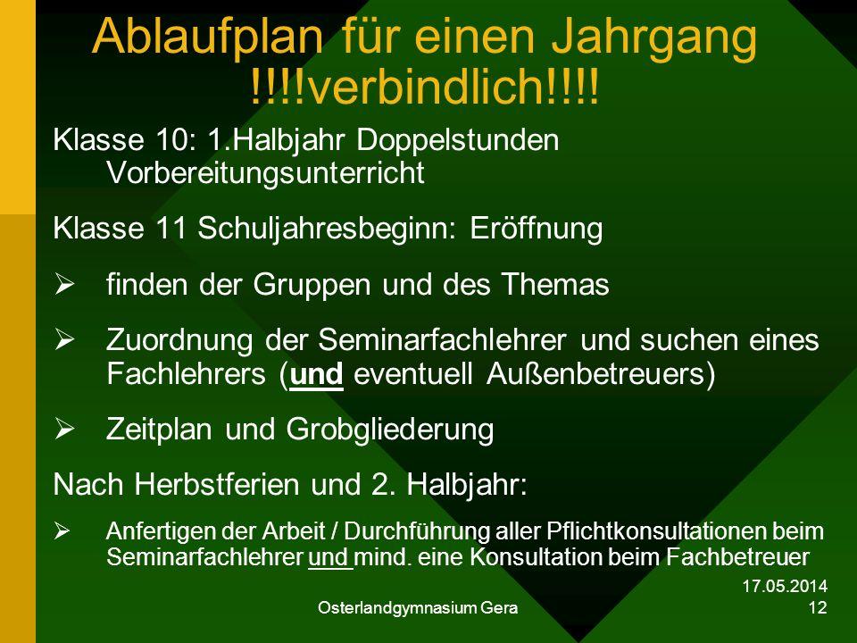 17.05.2014 Osterlandgymnasium Gera 12 Ablaufplan für einen Jahrgang !!!!verbindlich!!!! Klasse 10: 1.Halbjahr Doppelstunden Vorbereitungsunterricht Kl