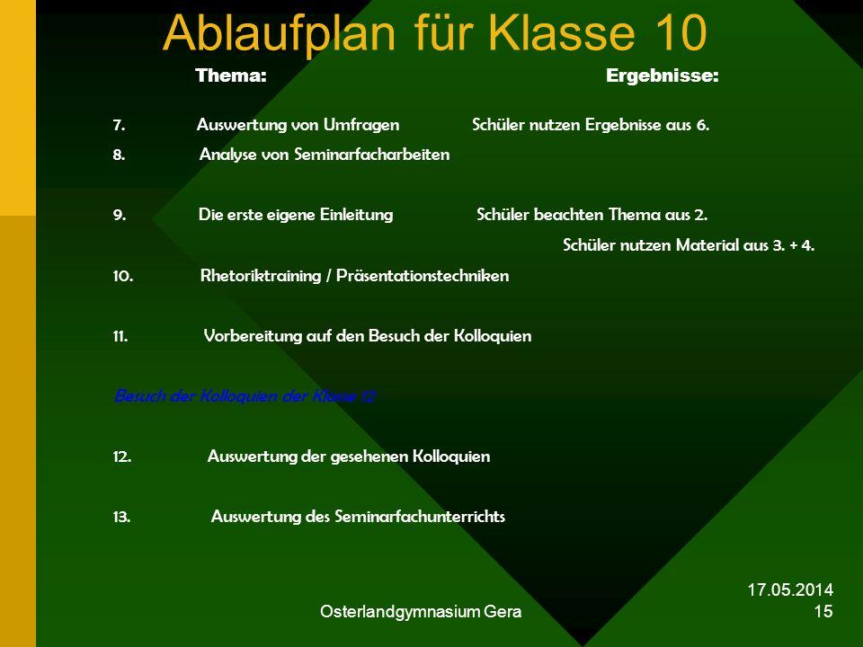 17.05.2014 Osterlandgymnasium Gera 15 Ablaufplan für Klasse 10 Thema: Ergebnisse: 7. Auswertung von Umfragen Schüler nutzen Ergebnisse aus 6. 8. Analy