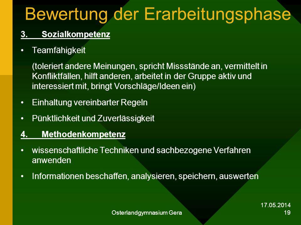 17.05.2014 Osterlandgymnasium Gera 19 Bewertung der Erarbeitungsphase 3. Sozialkompetenz Teamfähigkeit (toleriert andere Meinungen, spricht Missstände
