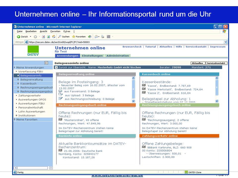 Folie 11 www.lueckel-partner-stb.de Unternehmen online – Ihr Informationsportal rund um die Uhr