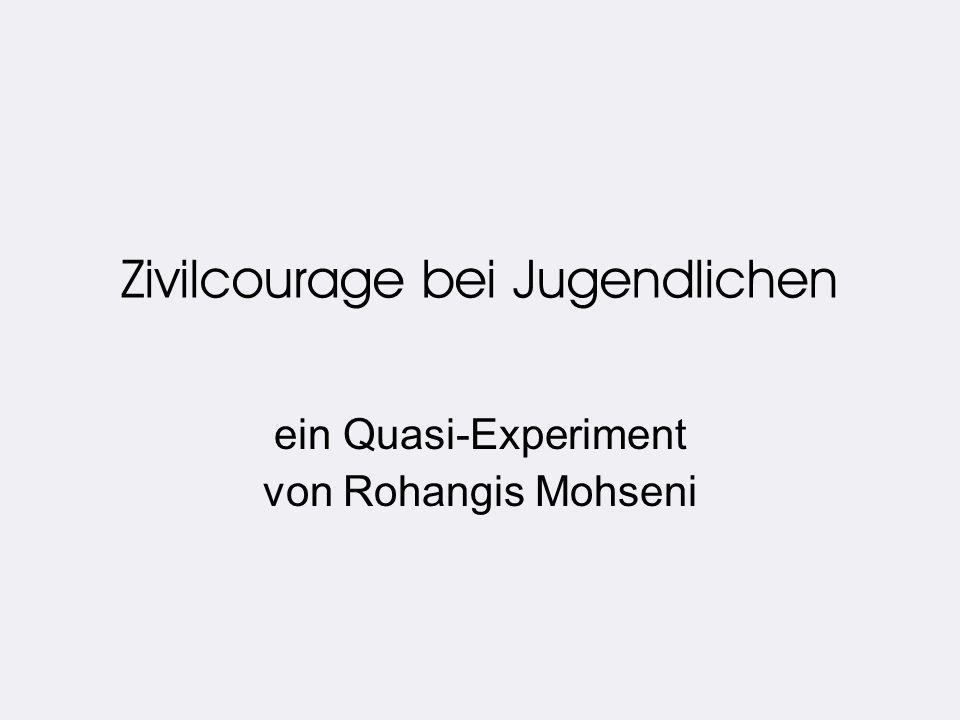 Zivilcourage bei Jugendlichen ein Quasi-Experiment von Rohangis Mohseni