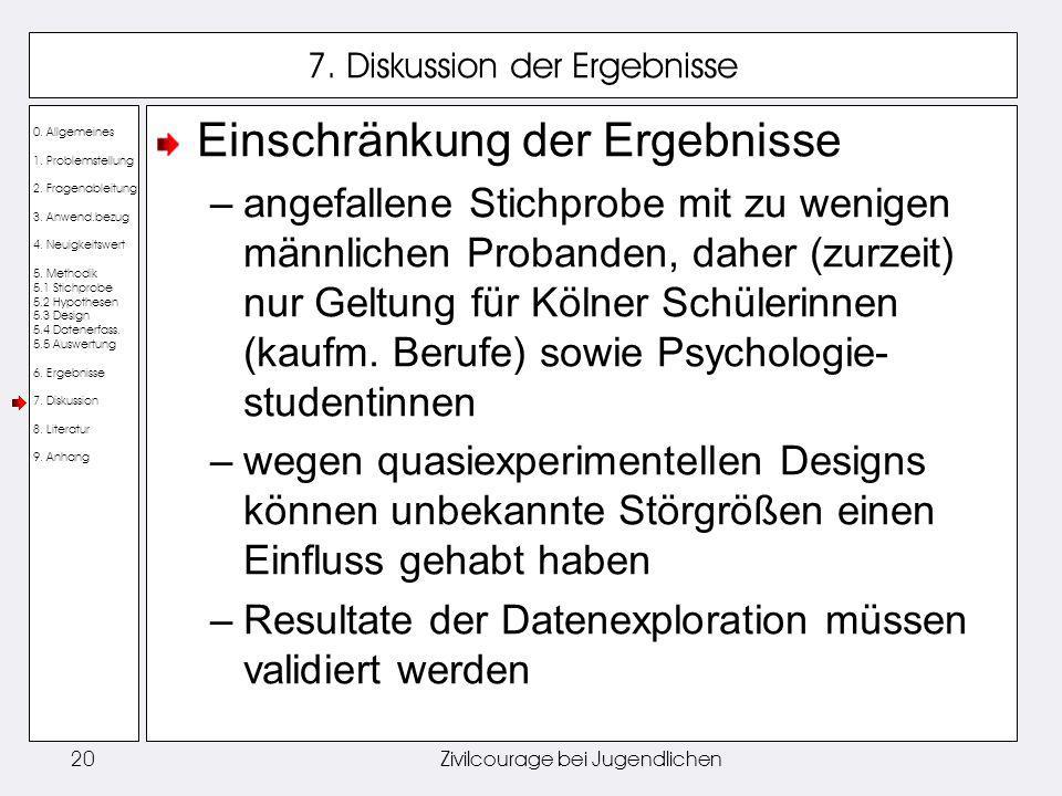 0. Allgemeines 1. Problemstellung 2. Fragenableitung 3. Anwend.bezug 4. Neuigkeitswert 5. Methodik 5.1 Stichprobe 5.2 Hypothesen 5.3 Design 5.4 Datene