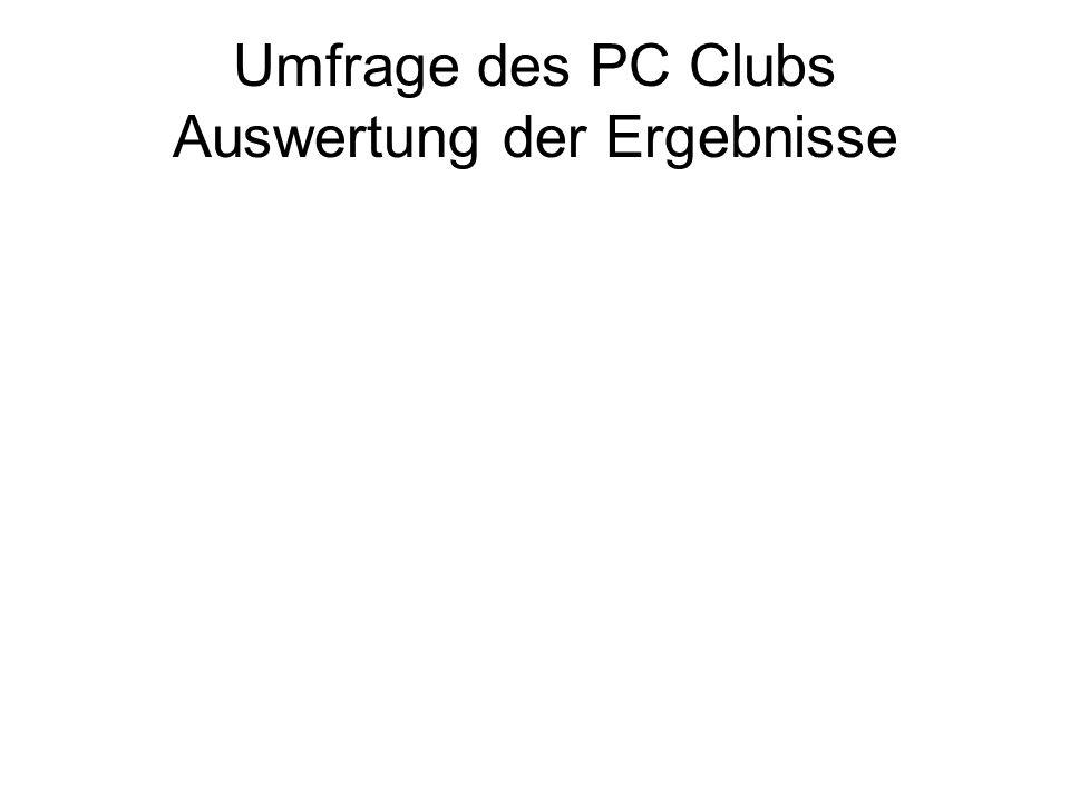 Umfrage des PC Clubs Auswertung der Ergebnisse