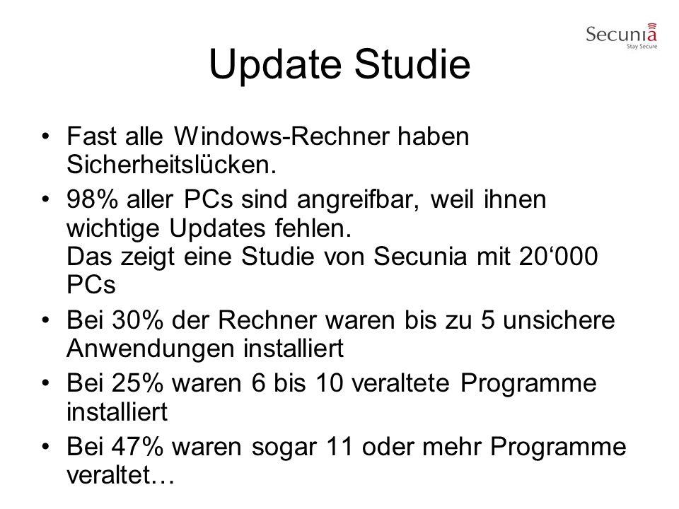 Update Studie Fast alle Windows-Rechner haben Sicherheitslücken. 98% aller PCs sind angreifbar, weil ihnen wichtige Updates fehlen. Das zeigt eine Stu