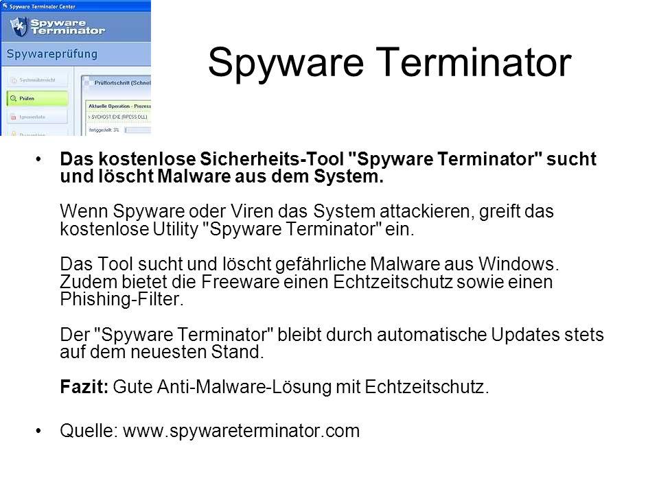 Spyware Terminator Das kostenlose Sicherheits-Tool
