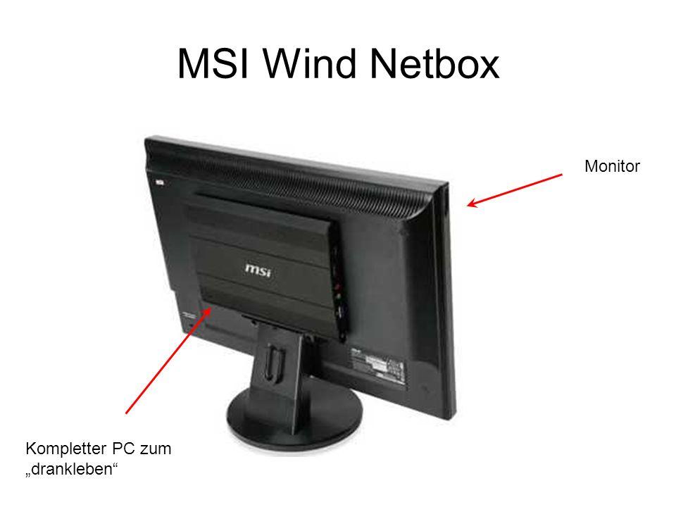MSI Wind Netbox Kompletter PC zum drankleben Monitor
