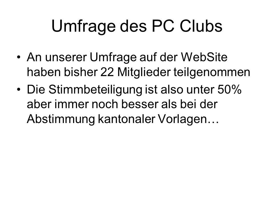 Umfrage des PC Clubs An unserer Umfrage auf der WebSite haben bisher 22 Mitglieder teilgenommen Die Stimmbeteiligung ist also unter 50% aber immer noc