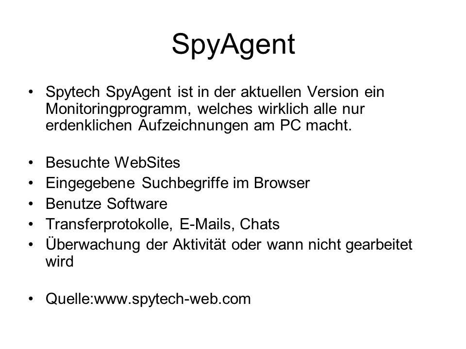 SpyAgent Spytech SpyAgent ist in der aktuellen Version ein Monitoringprogramm, welches wirklich alle nur erdenklichen Aufzeichnungen am PC macht. Besu