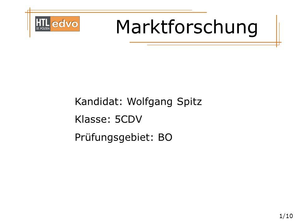 Marktforschung 1/10 Kandidat: Wolfgang Spitz Klasse: 5CDV Prüfungsgebiet: BO