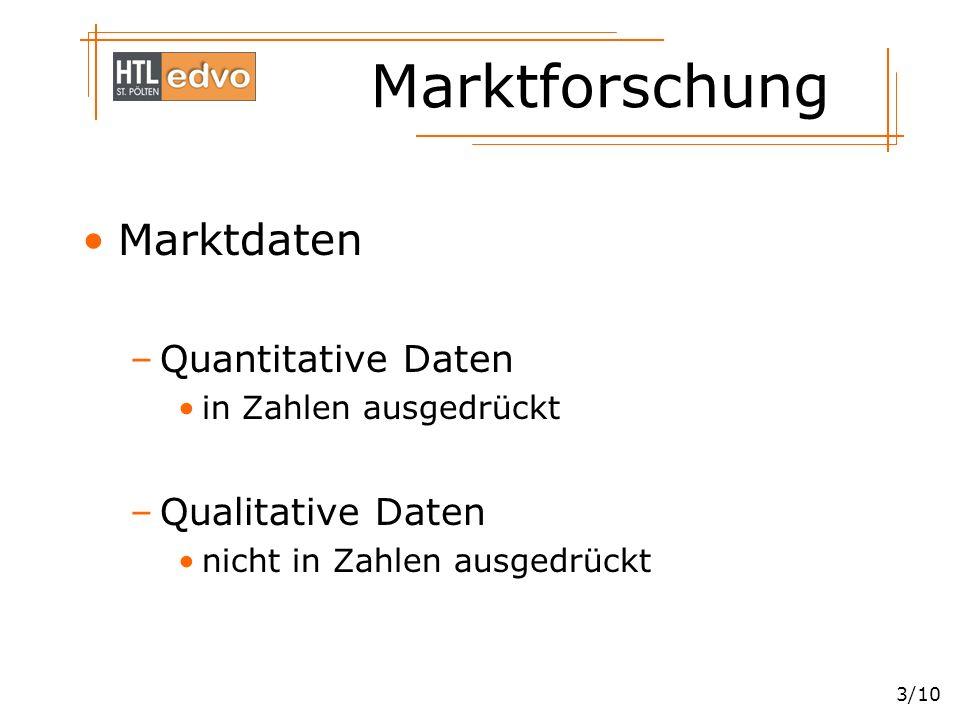 Marktforschung 4/10 Methoden der Marktforschung –Primärforschung Einmalige Erhebung Laufende Erhebung –Sekundärforschung Auswertung firmeninterner Daten Auswertung externer Daten