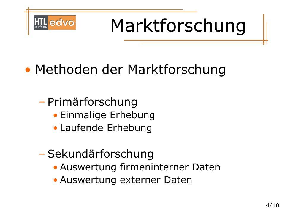 Marktforschung 5/10 Primärforschung –Vollerhebung –Teilerhebung Zufallsauswahl Quotenauswahl