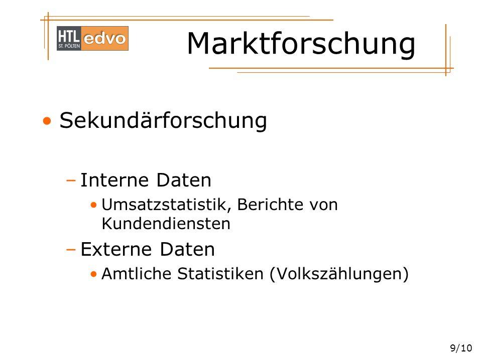 Marktforschung 9/10 Sekundärforschung –Interne Daten Umsatzstatistik, Berichte von Kundendiensten –Externe Daten Amtliche Statistiken (Volkszählungen)