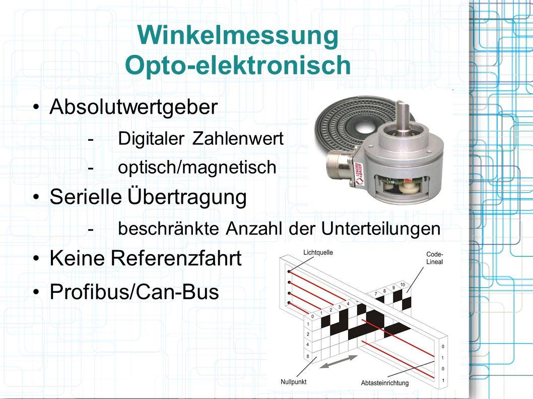 Winkelmessung Opto-elektronisch Absolutwertgeber -Digitaler Zahlenwert -optisch/magnetisch Serielle Übertragung -beschränkte Anzahl der Unterteilungen