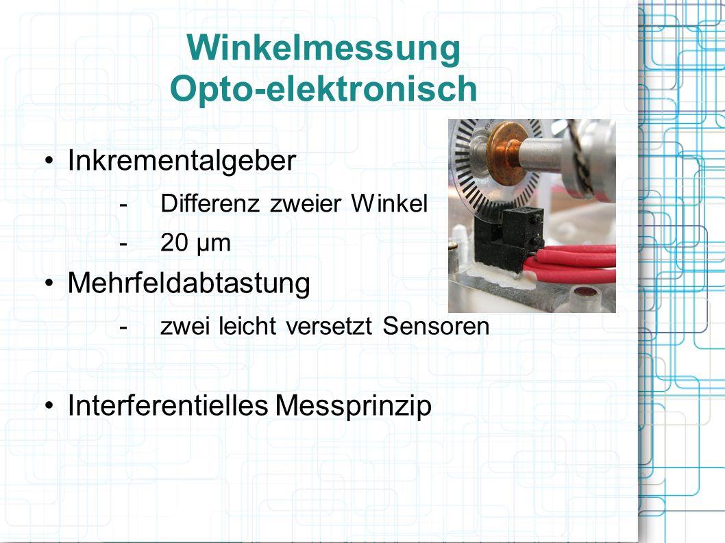 Winkelmessung Opto-elektronisch Inkrementalgeber -Differenz zweier Winkel -20 µm Mehrfeldabtastung -zwei leicht versetzt Sensoren Interferentielles Me