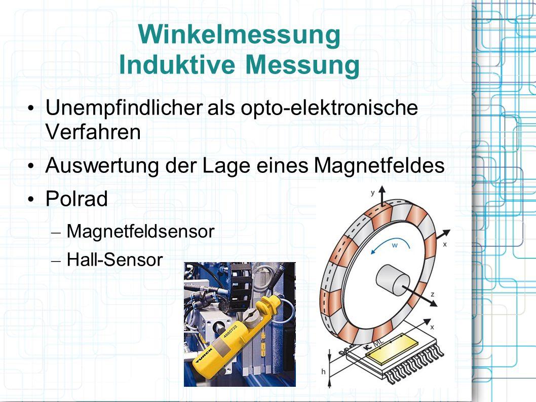 Winkelmessung Induktive Messung Unempfindlicher als opto-elektronische Verfahren Auswertung der Lage eines Magnetfeldes Polrad – Magnetfeldsensor – Ha