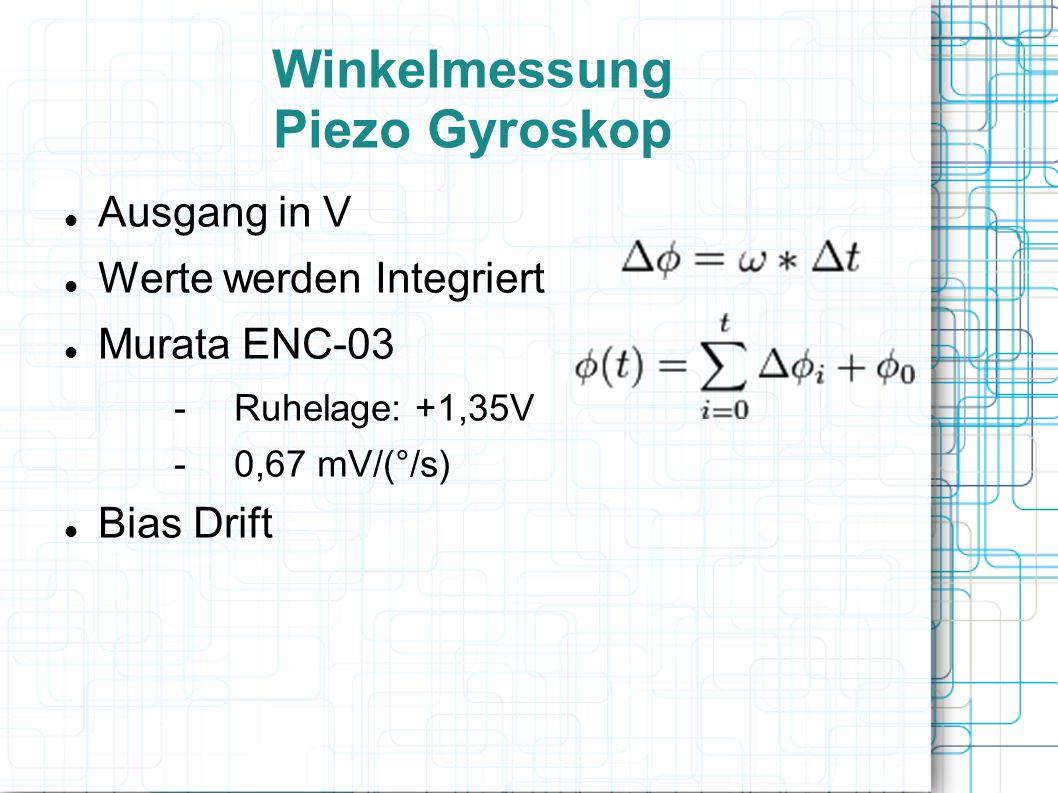 Winkelmessung Piezo Gyroskop Ausgang in V Werte werden Integriert Murata ENC-03 -Ruhelage: +1,35V -0,67 mV/(°/s) Bias Drift