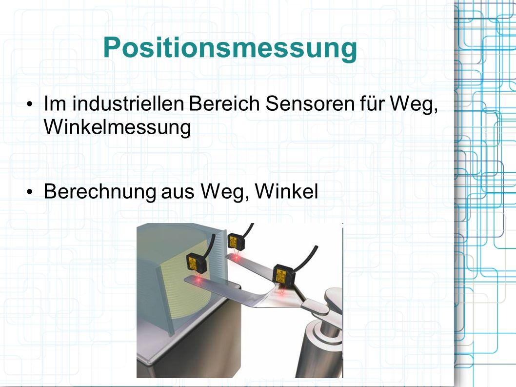 Positionsmessung Im industriellen Bereich Sensoren für Weg, Winkelmessung Berechnung aus Weg, Winkel