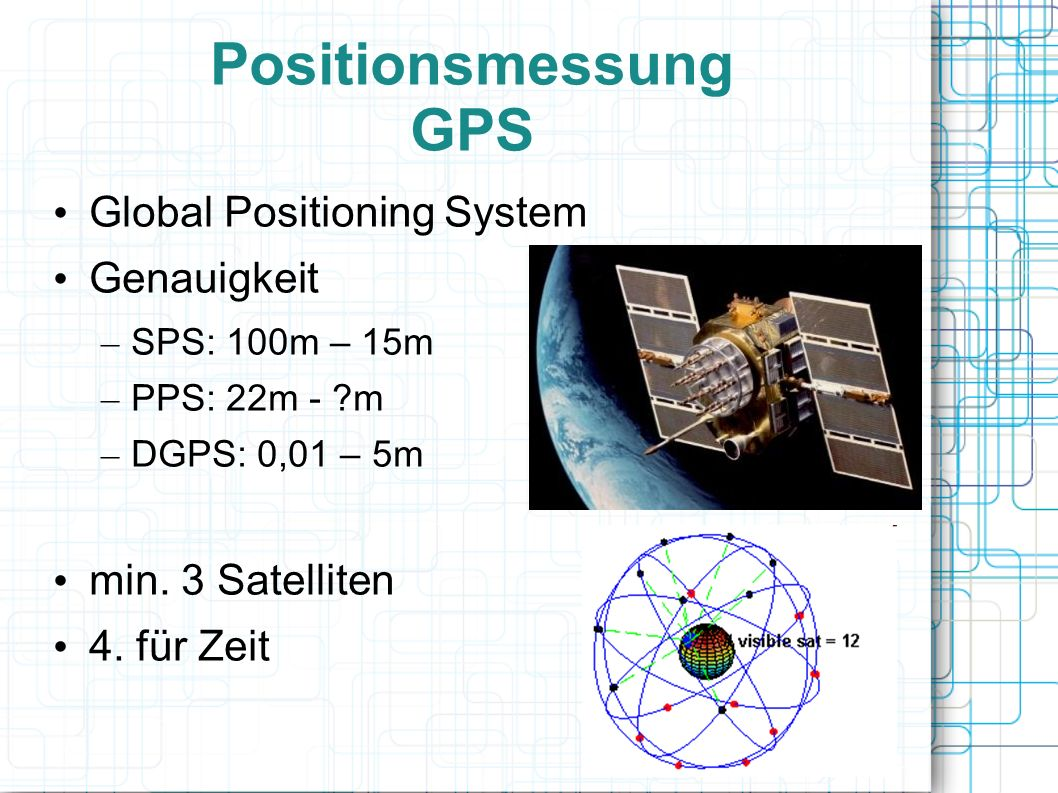 Positionsmessung GPS Global Positioning System Genauigkeit – SPS: 100m – 15m – PPS: 22m - ?m – DGPS: 0,01 – 5m min.