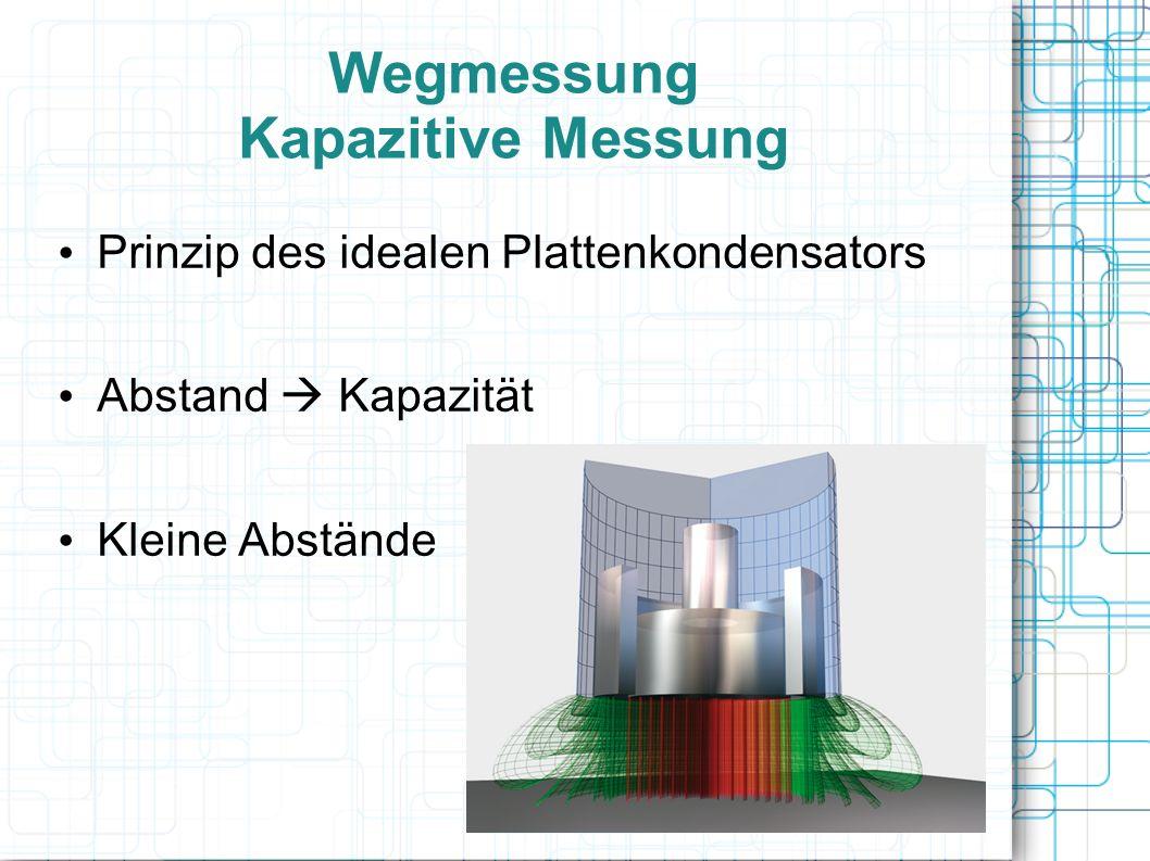 Wegmessung Kapazitive Messung Prinzip des idealen Plattenkondensators Abstand Kapazität Kleine Abstände