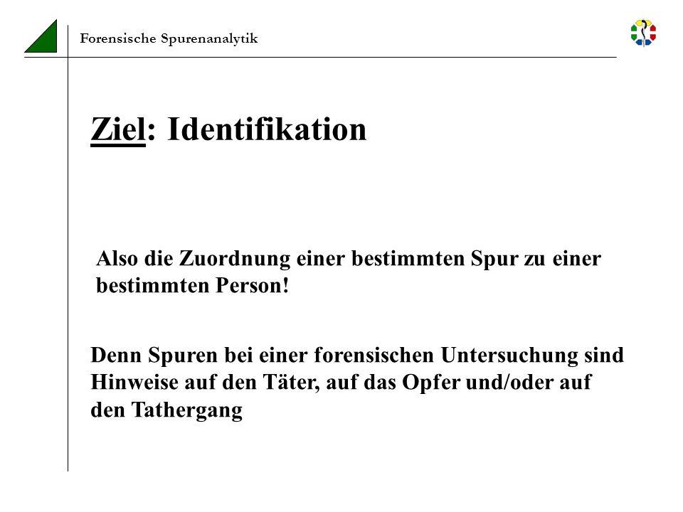 Forensische Spurenanalytik Ziel: Identifikation Also die Zuordnung einer bestimmten Spur zu einer bestimmten Person! Denn Spuren bei einer forensische