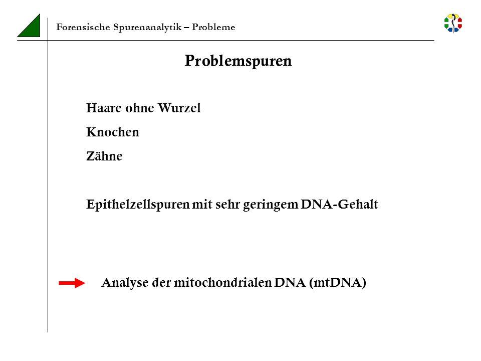 Forensische Spurenanalytik – Probleme Problemspuren Haare ohne Wurzel Knochen Zähne Epithelzellspuren mit sehr geringem DNA-Gehalt Analyse der mitocho