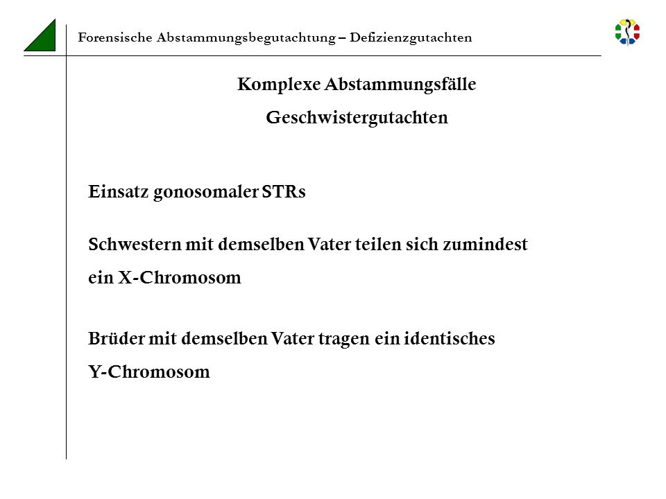 Forensische Abstammungsbegutachtung – Defizienzgutachten Einsatz gonosomaler STRs Brüder mit demselben Vater tragen ein identisches Y-Chromosom Schwes