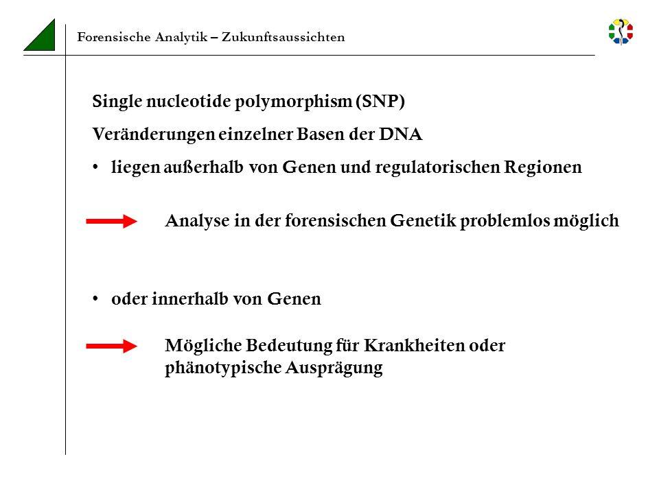 Forensische Analytik – Zukunftsaussichten Single nucleotide polymorphism (SNP) Veränderungen einzelner Basen der DNA liegen außerhalb von Genen und re