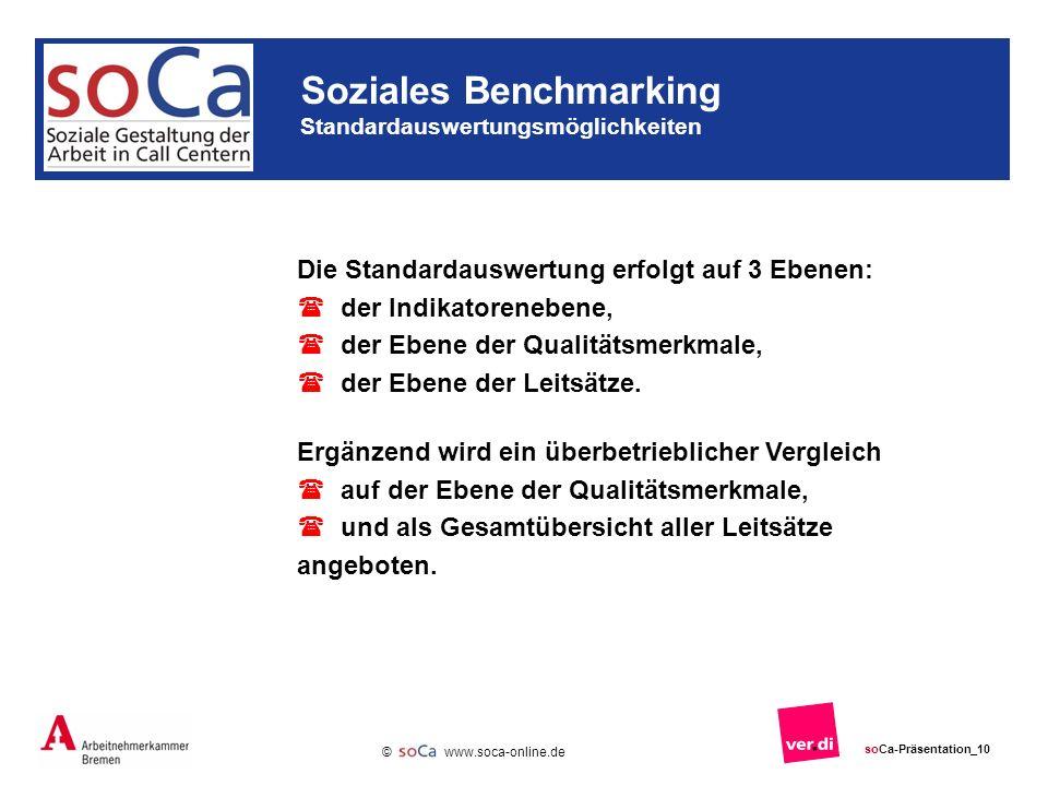 www.soca-online.de © soCa-Präsentation_10 Die Standardauswertung erfolgt auf 3 Ebenen: der Indikatorenebene, der Ebene der Qualitätsmerkmale, der Ebene der Leitsätze.