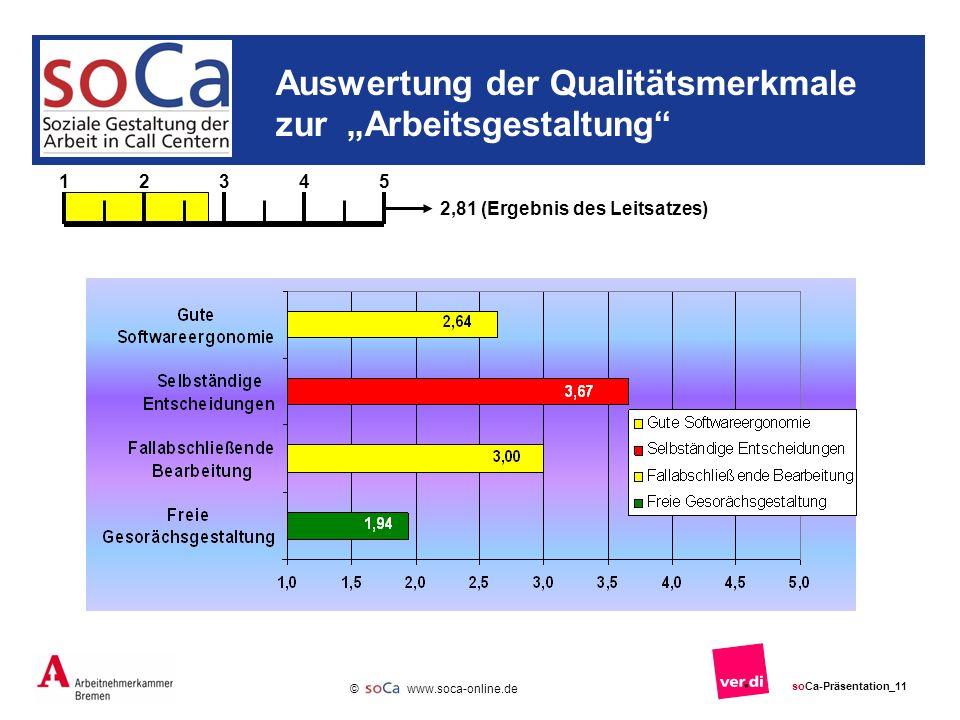 www.soca-online.de © soCa-Präsentation_11 Auswertung der Qualitätsmerkmale zur Arbeitsgestaltung 12345 2,81 (Ergebnis des Leitsatzes)