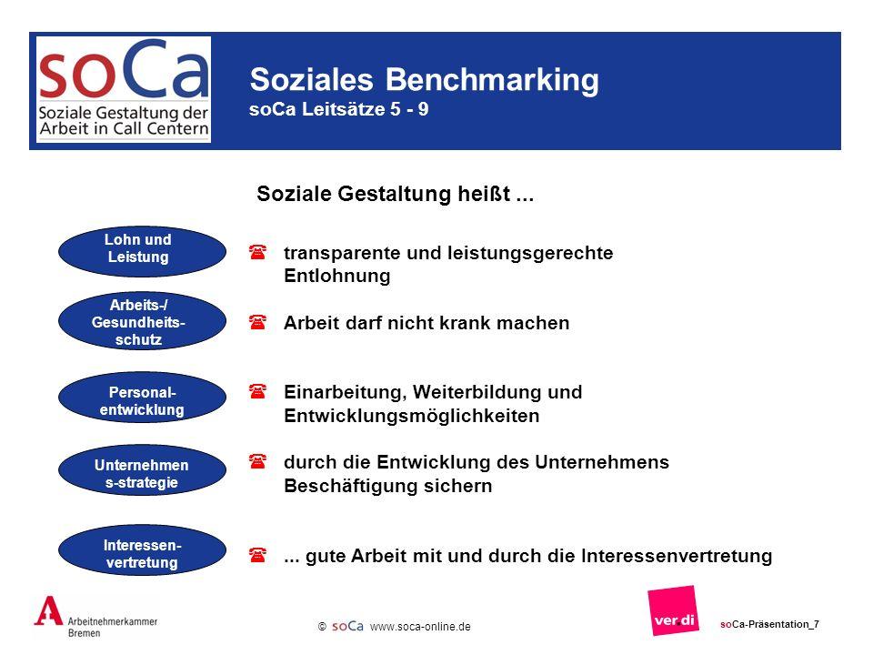 www.soca-online.de © soCa-Präsentation_7 Soziales Benchmarking soCa Leitsätze 5 - 9 Lohn und Leistung Soziale Gestaltung heißt...