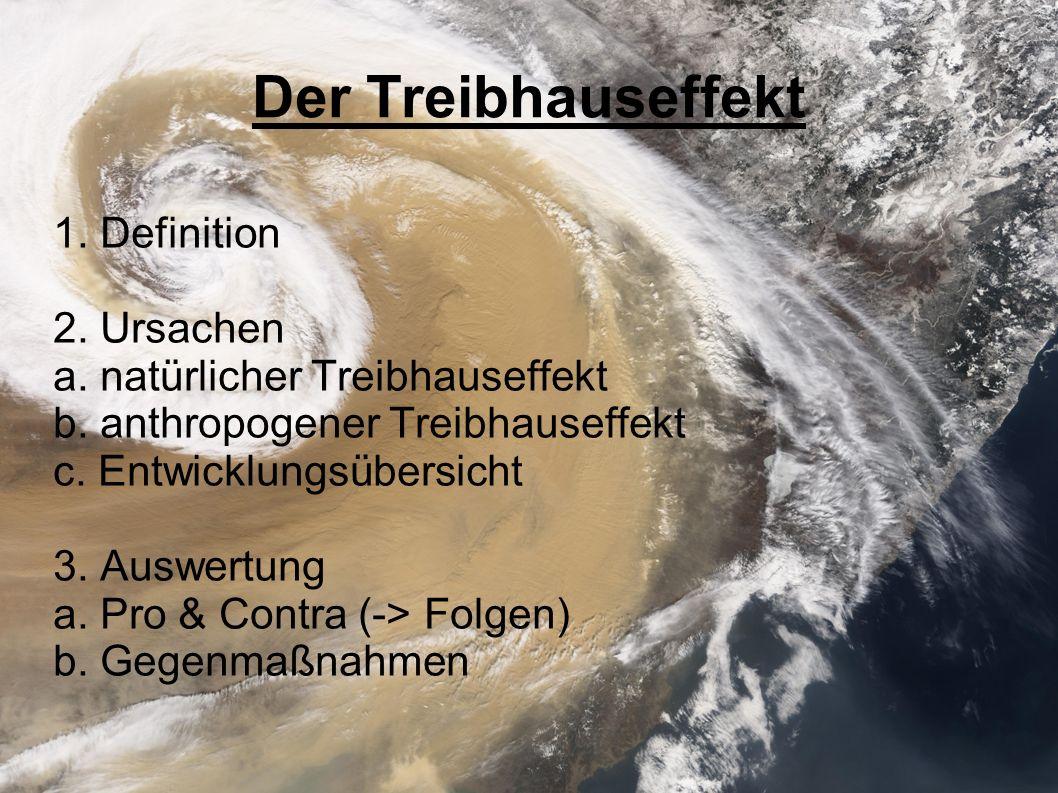 Der Treibhauseffekt 1. Definition 2. Ursachen a. natürlicher Treibhauseffekt b. anthropogener Treibhauseffekt c. Entwicklungsübersicht 3. Auswertung a