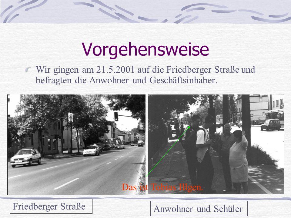 Vorgehensweise Wir gingen am 21.5.2001 auf die Friedberger Straße und befragten die Anwohner und Geschäftsinhaber.