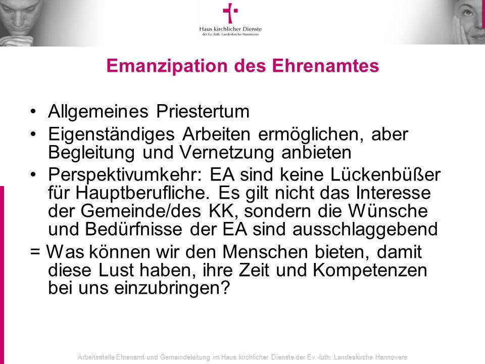 Arbeitsstelle Ehrenamt und Gemeindeleitung im Haus kirchlicher Dienste der Ev.-luth. Landeskirche Hannovers Emanzipation des Ehrenamtes Allgemeines Pr