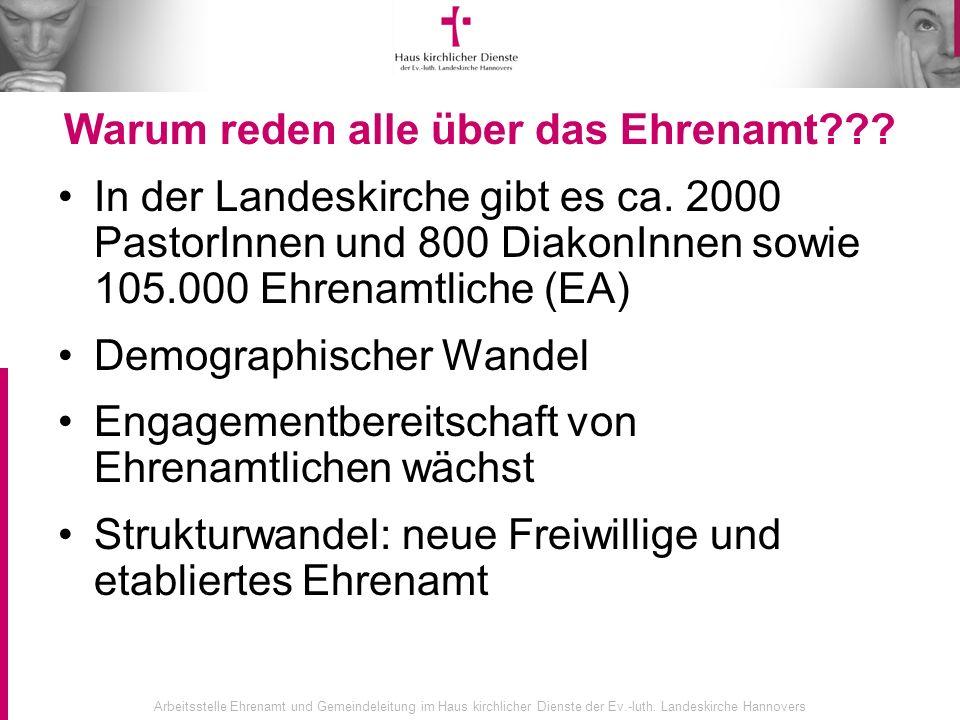 Arbeitsstelle Ehrenamt und Gemeindeleitung im Haus kirchlicher Dienste der Ev.-luth. Landeskirche Hannovers Warum reden alle über das Ehrenamt??? In d